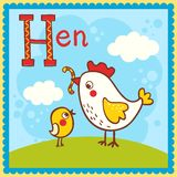 Illustrated alphabet letter H and hen. Royalty Free Stock Image