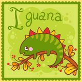 Illustrated alphabet letter I and iguana. Royalty Free Stock Photos