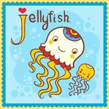 Illustrated alphabet letter J and jellyfish. Stock Photos