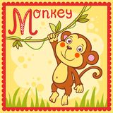 Illustrated alphabet letter M and monkey. Animal alphabet for the kids Royalty Free Stock Photos