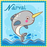 Illustrated alphabet letter N and narval. Royalty Free Stock Photography