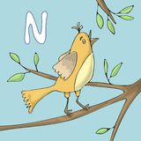 Illustrated alphabet letter N and Nightingale. ABC book image vector cartoon. The nightingale sings on a tree branch vector illustration