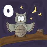 Illustrated alphabet letter O and Owl. ABC book image vector cartoon. Cute owl sits on a tree in the evening. Children vector illustration
