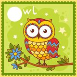 Illustrated alphabet letter O and owl. Royalty Free Stock Images