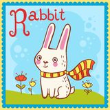 Illustrated alphabet letter R and rabbit. Royalty Free Stock Image