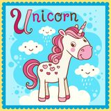 Illustrated alphabet letter U and unicorn. Royalty Free Stock Photography