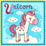 Illustrated alphabet letter U and unicorn. Royalty Free Stock Photography