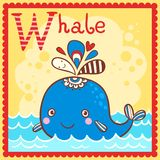 Illustrated alphabet letter W and whale. Animal alphabet for the kids Royalty Free Stock Images