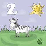 Illustrated alphabet letter Z and Zebra. ABC book image vector cartoon. Zebra is grazed on a meadow in a zoo. Children`s royalty free illustration
