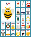Illustrated alphabet phonemes. Vector cards with illustrated alphabet phonemes Royalty Free Stock Photo