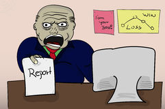 Illustrated angry boss holding report. Yeling (screaming) angry Royalty Free Stock Photo