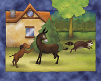 Illustrated animals fighting. Animals fighting near a house. Digital illustration of the Grimms fairy tale: Bremen town musicians Stock Image