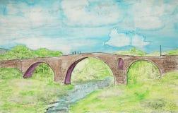 Illustrated aqueduct bridge, St Hilaire, France Stock Image