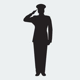 Illustrated Army general silhouette with hand gesture saluting. Vector Stock Images