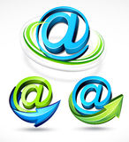 Illustrated @ and arrows Royalty Free Stock Images