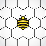 Hexagonal honey comb background with stylized bee royalty free stock photography