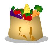 Illustrated bag of vegetables Stock Image