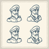 Illustrated bearded boat captain icons Stock Images