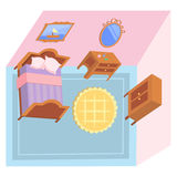 Illustrated bedroom. Illustrated vector bedroom in pastel colors Stock Photography