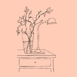 Illustrated bedside table Royalty Free Stock Images