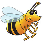 Illustrated bee1. Cute yellow bee illustration or bumble bee, maybe even a yellow jacket Stock Photo