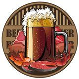 Beer and snack, beer tag. Illustrated beer tag, beer and snack Royalty Free Stock Photo