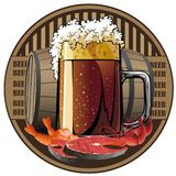 Illustrated beer tag, beer and snack. Beer and snack, beer tag Royalty Free Stock Photography