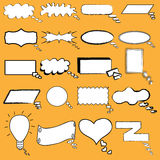 Illustrated blank cartoon speech bubbles. Vector illustrated set of conversation, thought, and speech bubbles designed to look like hand drawn cartoon or comic Stock Photo
