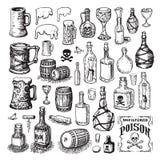 Illustrated bottle and keg icons stock illustration