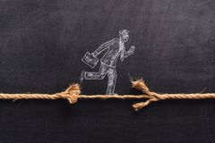 Free Illustrated Businessman Is Walking On A Thiny And Frayed Rope, Metaphoring Risky Business Life An Capability Of Solving Stock Photo - 173028020