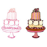 Illustrated cake Stock Photo