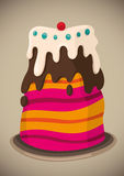 Illustrated cake. Royalty Free Stock Image
