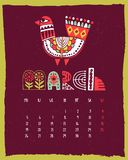 Illustrated calendar royalty free illustration