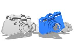 Illustrated cameras on white. Floating illustrated cameras isolated against a white background with shadows Stock Photos