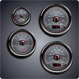 Illustrated car gauges. Illustrated automobile gauges for gas, oil, battery and speed Stock Image