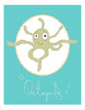 Illustrated card Octopus Royalty Free Stock Image