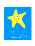 Illustrated card Sea Star Stock Photo