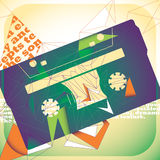 Illustrated cassette background. Royalty Free Stock Photos