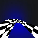 Illustrated checkered curve. An abstract illustration of a black and white checkered curve or arch on a dark blue background Royalty Free Stock Image