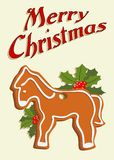 Illustrated christmas card with gingerbread horse Royalty Free Stock Photo