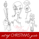 Illustrated Christmas girls Royalty Free Stock Photo