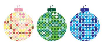 Illustrated Christmas Ornaments 3. Illustrated Christmas ornaments featuring hexagonal patterns in various colors Stock Illustration