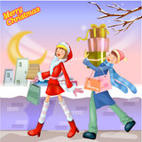 Illustrated Christmas scene Stock Photography