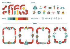 Illustrated Christmas vector frames constructor template set with icons and ribbons to use. Stock Photos