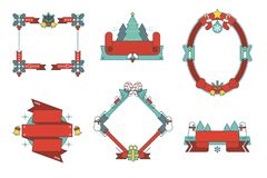 Illustrated Christmas vector frames and ribbons set. For your holiday graphic design Stock Photos