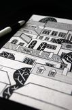 Illustrated city with cute buildings and trees. In black and white Royalty Free Stock Images