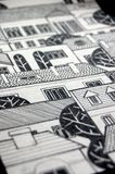 Illustrated city with cute buildings and trees Stock Images
