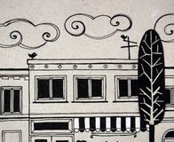 Illustrated city with cute buildings and trees. In black and white Stock Image