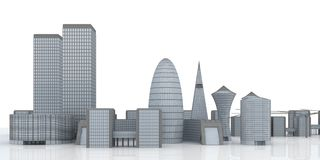 Illustrated city skyline Royalty Free Stock Photos