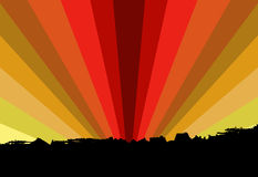 Illustrated city sunset. Illustrated unset and small city vector illustration